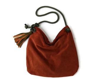 Large Suede Shoulder Bag in Cinnamon. Leather Shopping Bag. Boho Shoulder Bag.  Womens Gift. Gift for Her. Bohemian Bag. -Alicit-