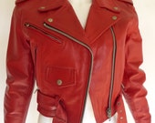Vtg Cherry Red Motorcycle Biker Jacket XS Zip-out Lining