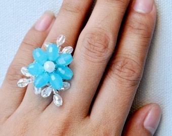 Turquoise Rings for Women, Blue Flower Ring, Womens Ring, Handmade Ring, Womens Gift