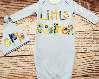 Little Brother Infant Gown & Hat Set / Baby Gown / Little Bro / Brother / Layette / Newborn Hat / Hand Drawn / Sleeper / Coming Home