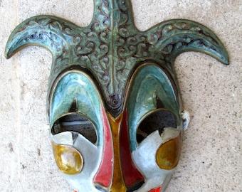 Vintage Brass Jester Comedy Enamel Face Mask Mardi Gras Wall Hanging