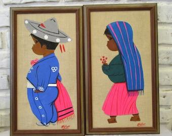 Vintage Mexican Folk Art Children Boy Girl Primitive Naive Painting Framed Signed on Burlap