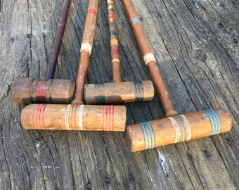 Vintage Collection of Croquet Mallets..Lot of 4..Instant Collection..Salvaged Yard Art..Colorful Mismatched Set 4 Croquet Mallets