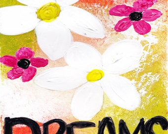 Dreams Mixed Media Art Print, Unframed Art, Naive Art, Home Decorating, Interior Design