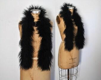 Black Tibetan Fur Scarf / Mongolian Lamb Collar