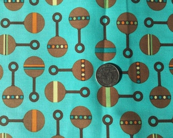 Aqua Blue Fabric with Baby Rattles (by the yard)  100% Cotton by Robert Kaufman