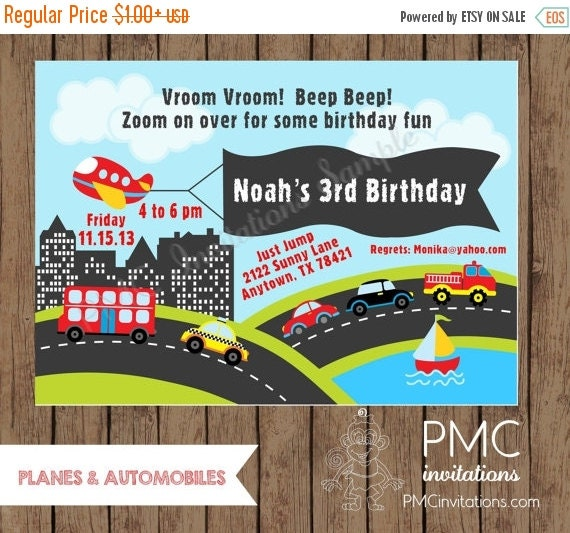 ON SALE Custom Printed Planes and Automobile Birthday Invitations - 1.00 each with envelope