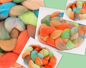 Hand dyed roving, spinning wool, British Southdown wool top, hand painted roving, sock fibre, spinning fiber, 120g, Devil's Dyke