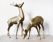 vintage brass deer figurines, large brass deers