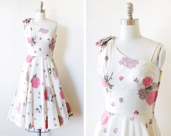 50s floral dress, vintage 1950s party dress, white and pink fit and flare dress, extra small xs