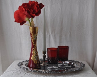 Valentine's Day Date Decor/Red Glass Gilt Vase/Two Red Wine Glasses/Ornate Silver Plate Chalkboard Tray/Silverplate Candleholder