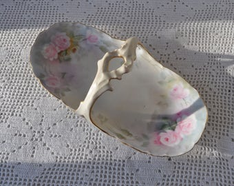 Vintage Porcelain Basket With Handle/Vintage 1950s/Bavarian China With Pink Roses/Petite Serving Dish/Easter Egg Basket