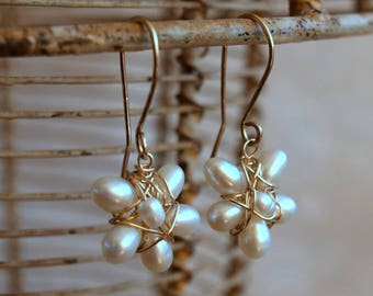 Gold Pearl Earrings, White Natural pearl Flower, dangle pearl flowers, Bridal pearl 14 Karat Gold filled Wire wrapped. Gift for bridesmaid