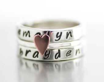 Mothers Rings, Stack Rings, Word Rings, Personalized, Name, Custom Rings, Sterling Stack Rings, Custom Rings, Poet Ring, Anniversary Ring