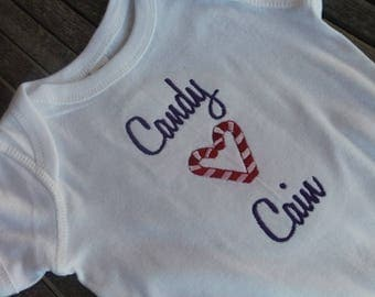 Personalized Onesie Heart Shaped Candy Cane Customized Embroidered Monogram Baby Infant Toddler Short/Long Sleeve T-Shirt Baby Announcement
