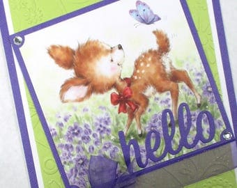Hello cards, just because cards, embossed cards, friendship cards, thinking of you, butterfly, deer, any occasion