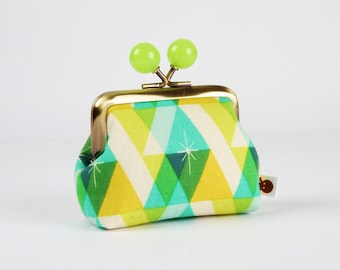 Metal frame coin purse with color bobbles - Facet green - Color mum / Cotton and Steel / Melody Miller / Christmas Garland / yellow mint