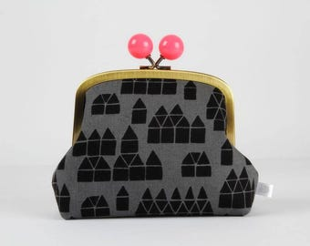 Metal frame clutch bag - Black houses on charcoal - Color bobble purse / Maker Maker / Sarah Golden / Dark village / Neon pink
