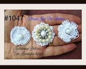 Crochet Thread FLOWER pattern, 3 flowers, bridal accessories, hair pin flower, barrette, headband, # 1047