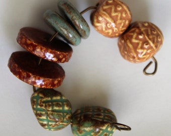 Rustic Grid Dots and Zig Zag Bead Set - Art Beads