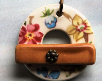 Summer Garden Toggle Clasp - Jewelry Clasp - Large Ceramic Circle Focal Toggle Clasp - Pottery Clasp - Clay Clasp