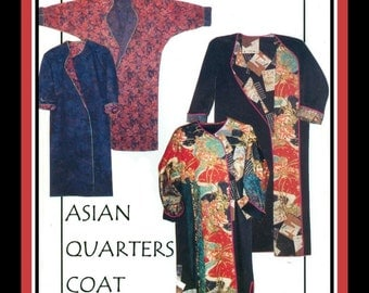 ART TO WEAR-Asian Style Long Coat-Designer Sewing Pattern-Two Styles-Flattering Fit-Fabric Collage-Applique-Reversible-Uncut-All Sizes-Rare