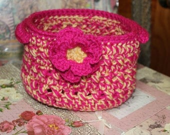 Handmade Fiber Art Soft Basket Bowl in sunny yellow and vibrant pink with Flower