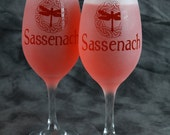 Sassenach Dragon fly Celtic circle Outlander inspired Frosted Etched White Wine Glasses Set Of 2