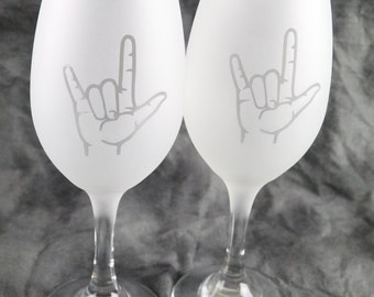 American Sign Language I Love You Frosted Etched White Wine Glasses Set Of 2