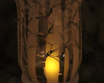 White Birch  or Aspen Tree trunk Hurricane style Candle holder or Vase