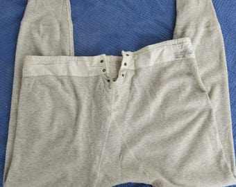 Dated 5/15/42 40s Vintage 40s Military Issue Wool Cotton Underwear Long Gray Army Workear