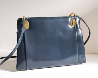 Vintage Navy Leather Purse Handbag Converts to Clutch Casa Lopez Argentina Spaghetti Straps Gold Hardware Dark Blue Bag Crossbody Handbag