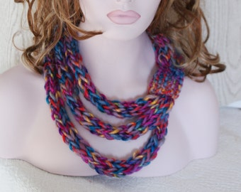 Rainbow Knitted Chunky Rope Neckwarmer Necklace