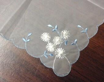 Vintage Ladies Sheer Hand Embroidered Hankie