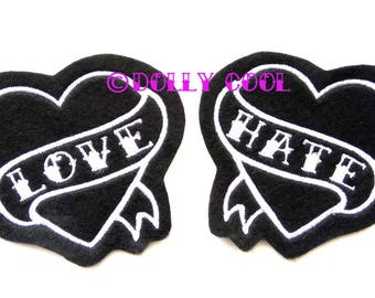 Tattoo Heart Patch Pair of white love and hate tattoo style sew on