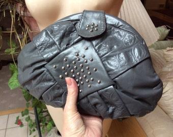 Vintage grey leather pouchy shoulder bag, dark grey leather purse stud detail, gray clutch or shoulder leather handbag, gray pouchy purse
