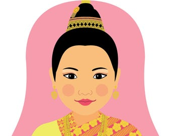 Laotian Wall Art Print features culturally traditional dress drawn in a Russian matryoshka nesting doll shape