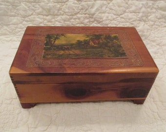 Vintage Decorative Pine Box Mirrored inside with lining SALE