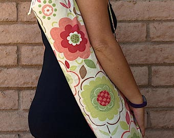 Yoga Mat Bag in floral print GROWTH with pocket, drawstring and cord lock Handmade