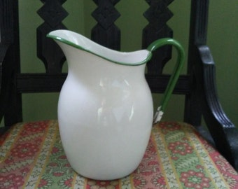 VTG Graniteware Pitcher with Green Handle