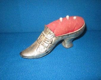 "Antique Victorian Edwardian Figural 5 1/2"" Metal Shoe Pin Cushion"