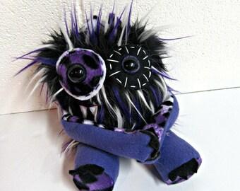 Plush Monster - Handmade Monster Plush - OOAK Stuffed Monster - Purple Black & White Faux Fur Monster - Hand Embroidered - Weird Cute Toy