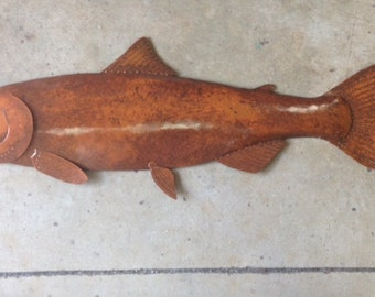 Coho Salmon 36in long Metal Fish Wall Art Sculpture Lodge Cottage Cabin Lake