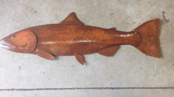 Coho Salmon 36in long Metal Fish Wall Art Sculpture Lodge Cottage Cabin Lake