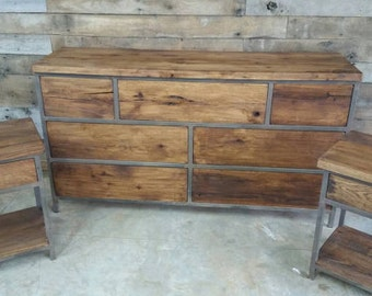 YOUR Custom Industrial and Rustic Barn Wood 7 Drawer Dresser FREE SHIPPING - IRBWDD1200F
