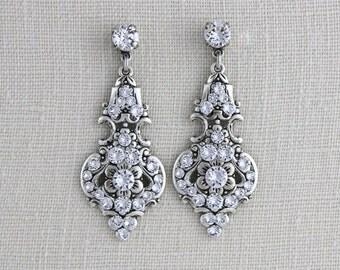 Crystal Bridal earrings, Bridal jewelry, Swarovski earrings, Rhinestone earrings, Chandelier earrings, Crystal earrings, Vintage style
