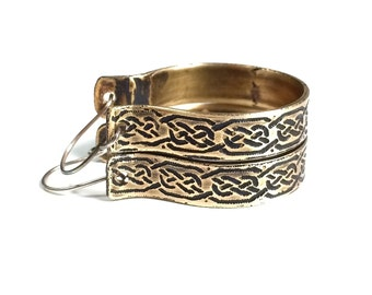 Hoop Earrings, Etched Brass Celtic Knot Earrings