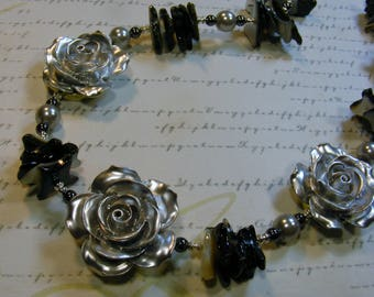 Silver Roses-dark necklace, shell and hematite, 20 inches or 51 cm