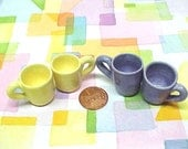 Miniature Pottery Tiny Tea cups | Lemon Yellow or Light Purple | Hand Turned Wheelthrown | CHOOSE COLOR