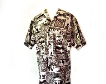 Sale 60s Mens Shirt / Vintage PACIFIC ISLE / Hawaiian Shirt / Surfer Beach Wear / 40 Inch Chest